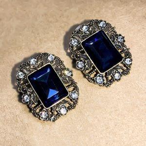 Vintage Look Gold & Blue Crystal Stud Earrings